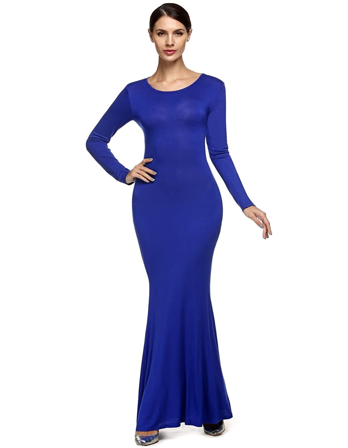 Meloo Damen Kleid Elegant Lange Hülse backless Cocktailkleid Kleid ...