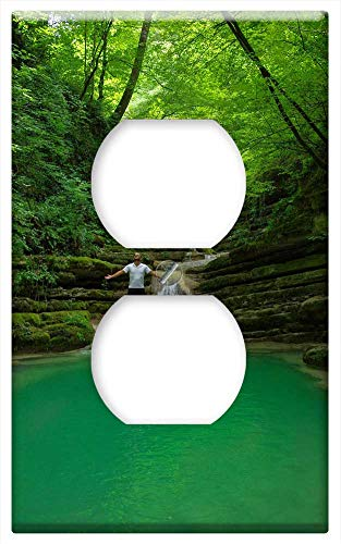 Switch Plate Outlet Cover - Lake Forest Waterfall Sinop Trees Green Water 1