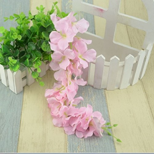 10Pcs/30Head Hawaii Artificial Silk Wisteria Garden Hanging Flower Vine Wedding Plant For Home Decoration Hydrangea Fake Flowers by Suyunyuan Flowers