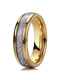 NaNa Chic Jewelry 6mm Unisex 14k Gold Dome Tungsten Carbide Ring Meteorite Inlay Engagement Wedding Band