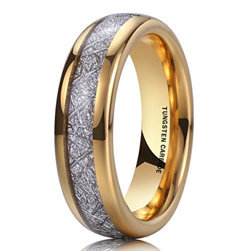 14k Tungsten Ring - NaNa Chic Jewelry 6mm Unisex 14k Gold Dome Tungsten Carbide Ring Meteorite Inlay Engagement Wedding Band 7.5