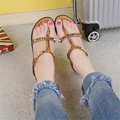 LvYuan Mujer Sandalias Innovador Zapatos formales Semicuero Verano Casual Vestido Fiesta y Noche Innovador Zapatos formales Tacón PlanoBlanco White