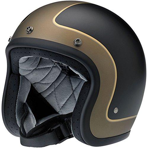 Biltwell Bonanza Le Tracker Helmet (Flat Black/Grey/Gold, Medium)