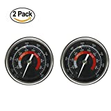 wood outdoor thermometer - BBQ Grill Temperature Gauge Waterproof Large Face for Kamado Joe Barbecue Charcoal Grill Stainless Steel 150-900°F Cooking Thermometer for Oven Wood Stove Accessories Tool Set Up Easy (Black-2 Pack)
