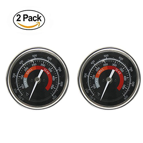 BBQ Grill Temperature Gauge Waterproof Large Face for Kamado Joe Barbecue Charcoal Grill Stainless Steel 150-900°F Cooking Thermometer for Oven Wood Stove Accessories Tool Set Up Easy (Black-2 Pack)
