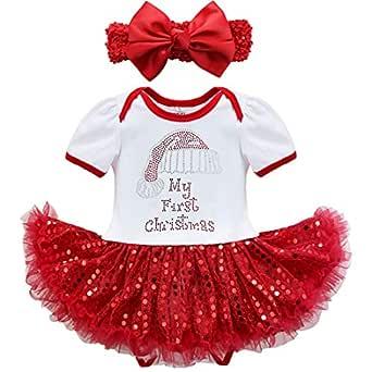 iiniim Baby Girls' My First Christmas Outfits Santa Tutu Romper with Headband 3 Months White