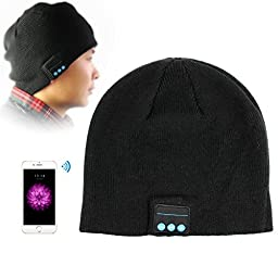Wireless Rechargeable Bluetooth Smart Cap Headset Headphone Soft Warm Beanie Hat Speaker For Iphone Samsung Htc LG Smartphone(bluetooh hat black)