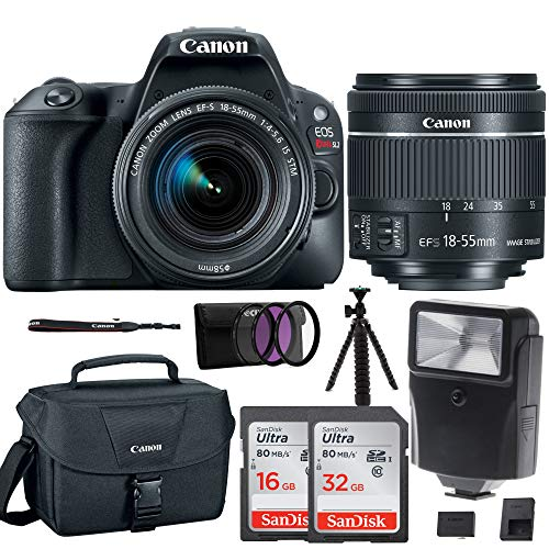 Canon EOS Rebel SL2 SLR Camera w/ 18-55mm f/4 STM Lens + Canon DSLR Bag, 48GB, Filter Kit, Flash & - Authorized Dealers Canon