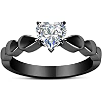 Haluoo Cubic Zirconia Heart Promise Ring Fashion Black Gold Gun Lovers Ring Sterling Silver Engagement Wedding…