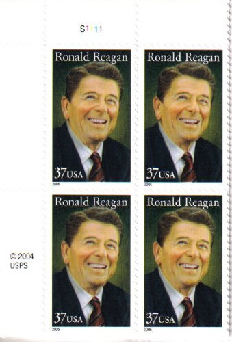 2005 RONALD REAGAN #3897 Plate Block of 4 x 37 cents US Postage -