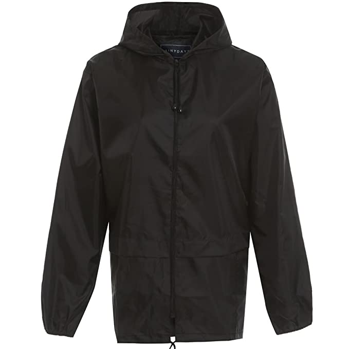 Girls boys kids lightweight Rain Jacket Coat Hooded Pac Away Showerproof Mac