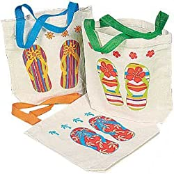 "Fun Express Canvas Flip Flop Tote Bags. Multicolor (12 Pack) 8"" X 2 1/2 X 8 1/2 with 5 1/2 Handles. Poly-cotton."