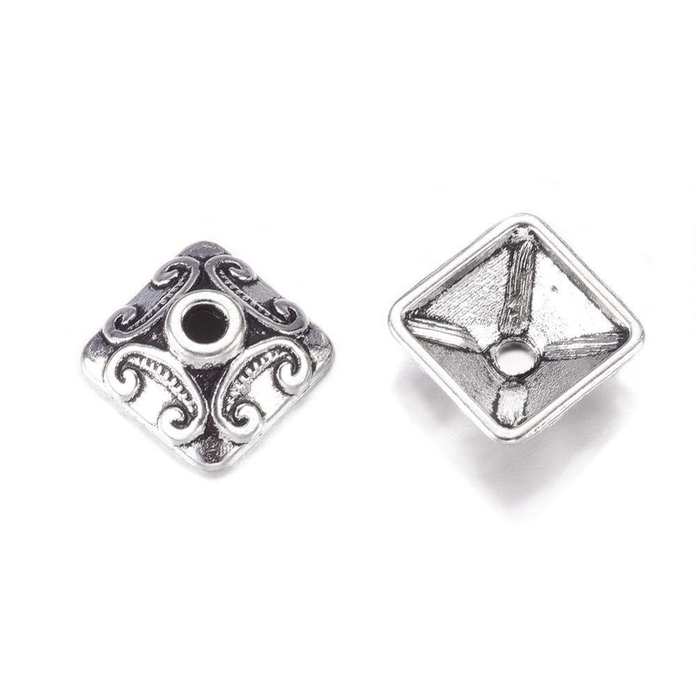 Pandahall 50pcs/Box Tibetan Flower Alloy Cone Bead Caps 7x10mm Antique Silver Lead Free and Cadmium Free for Jewelry Making