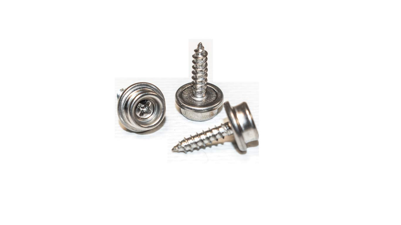 Boat Canvas Snaps 3/8'' inch Diameter, 8 x 5/8'' Screw (20pc), 100% Marine Grade Stainless Steel, by Vaughan Bros