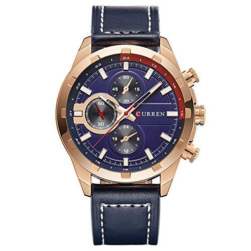 Gold Case Quartz Movement - Big Face Fashion Unique Nice Men's Blue Watches with Blue Leather Band Waterproof Wrist Watches Analog Japan Quartz Movement Rose Gold Case