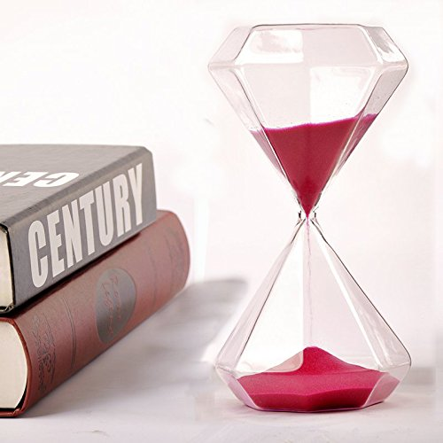 Diamond Hourglass (ANFIMU Large Heavy Glass Diamond Shape Hourglass Red Sand - Elegant Diamond Shape & Time Wine-like Flowing Theme Fun Desktop Diversion - Great Gifts for the Book Lovers)
