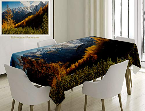 (Unique Custom Cotton and Linen Blend Tablecloth National Parks Panorama of Mountain Rage Valley Ice Peaks Hills Beech Trees Balkans MultiTablecovers for Rectangle Tables, 86 x 55 inches)