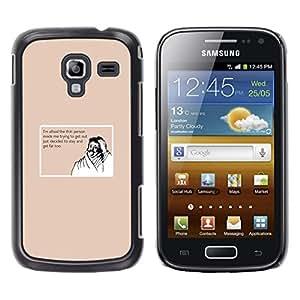 TECHCASE**Cubierta de la caja de protección la piel dura para el ** Samsung Galaxy Ace 2 I8160 Ace II X S7560M ** Thin Fat Lifestyle Quote Diet Funny Moustache