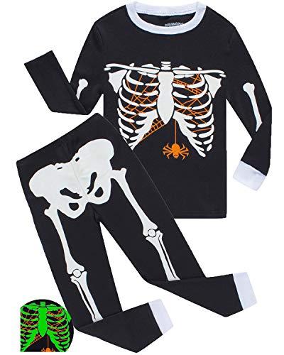 Boys Pajamas Skeleton Glow in The Dark Halloween Girls Pajamas Toddler Pjs Kids Sleepwear -