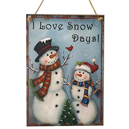 OULII Wooden Christmas Sign Wall Hanging Snowman Christmas Sayings Sign Plaque Christmas -