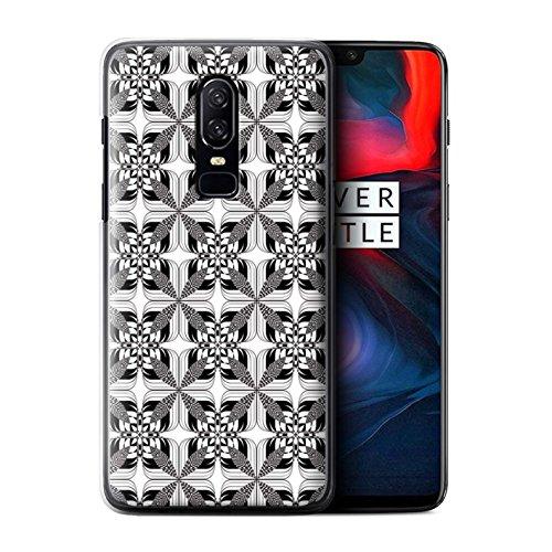 STUFF4 Phone Case/Cover for OnePlus 6/Symmetry Tiles Design/Black Fashion (Pattern Plastic Hardback Cover)