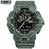 SMAEL 8001 Cowboy Streak Simple Design Digital Sports Watch Analog Quartz with Waterproof Resin Straps Unisex Wristwatch (Army Green)
