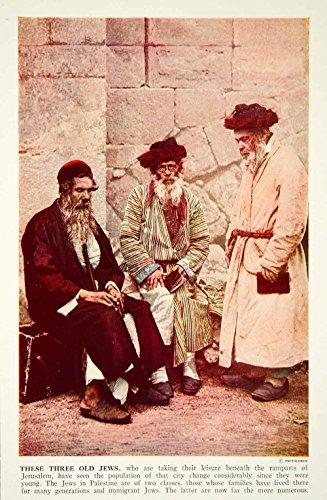 1938 Color Print Jewish Men Jerusalem Walls Traditional Costume Historic XGGD4 - Original Color Print