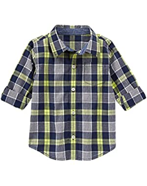 Boys Navy Plaid Shirt (2T)