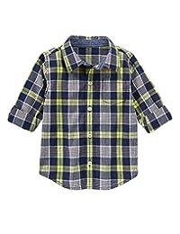 Gymboree Boys Navy Plaid Shirt (2T)