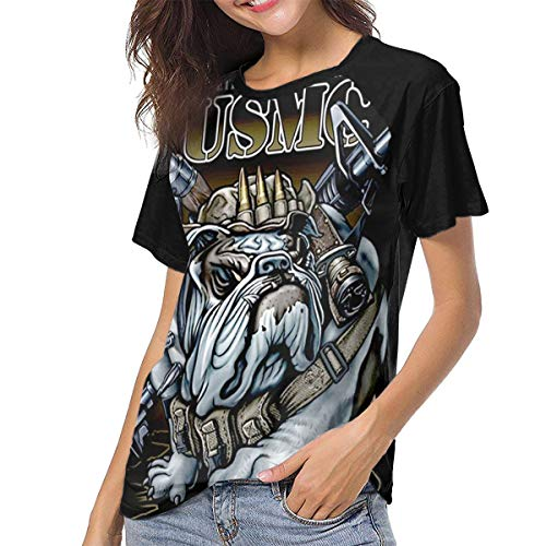 Usmc Marine Bulldog T-shirt Top - Women's Short Sleeve USMC Marine Corps Bulldog Print T Shirt Top Black