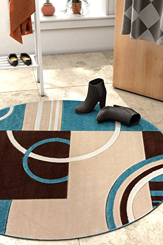 Echo Shapes & Circles Blue & Brown Modern Geometric Comfy Casual Hand Carved Round Area Rug 5 ( 5'3