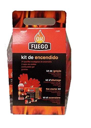 Kit Encendido chimenea OK FUEGO (24 pastillas ecologicas,2 cajas cerillas, gel encendido