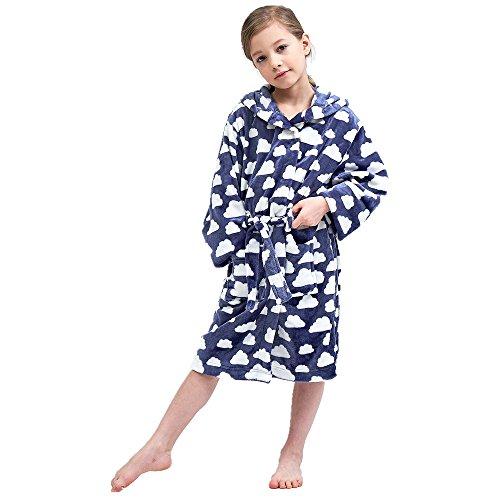 Boys & Girls Bathrobes, Plush Soft Coral Fleece Floral Hooded Sleepwear for Kids Size 8