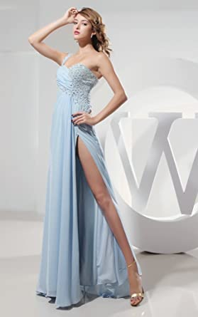 Kimgala Womens One Shoulder A Line Vestidos De Festa Longo Backless Pleated Beaded Prom Dress