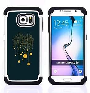 """Pulsar ( Winter Night City Yellow Significado"""" ) Samsung Galaxy S6 / SM-G920 SM-G920 híbrida Heavy Duty Impact pesado deber de protección a los choques caso Carcasa de parachoques"""