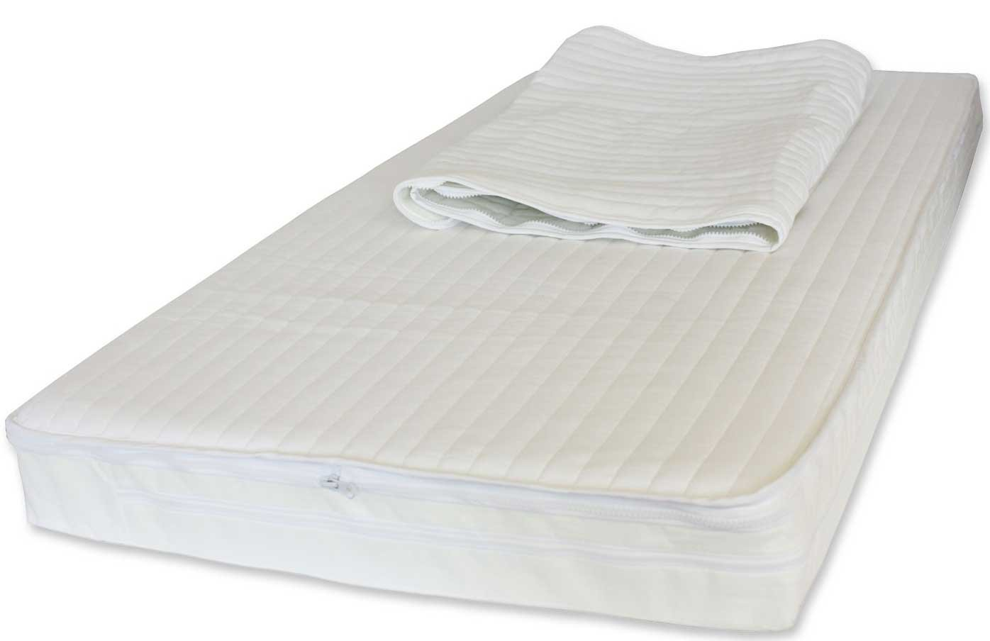 117 x 54 x 10 cm NightyNite® Superstart Sprung Cot Mattress with Two Interchangeable Microfibre Toppers and Waterproof Protection SSCGM1