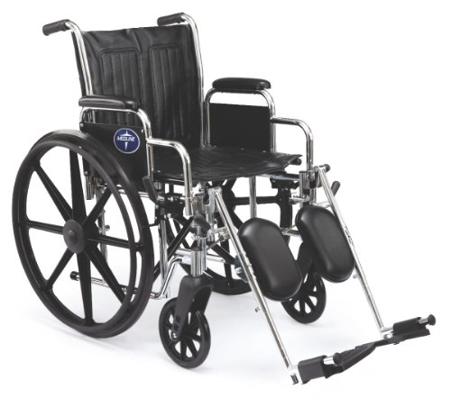 """Medline Excel 2000 Wheelchair, 20"""" Wide Seat, Desk-Length Arms, Elevating Footrests, Chrome Frame"""
