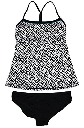 Nike Women's Tankini 2-Piece Tie Back Swimsuit White/Teal/Black (Small)