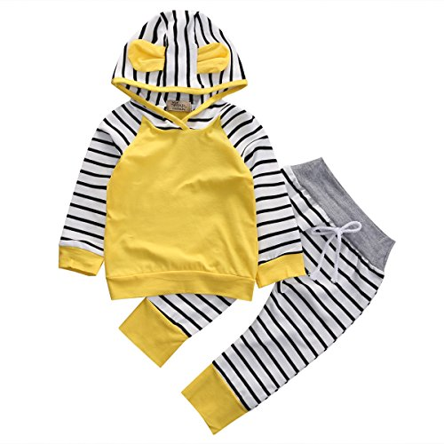 Baby Girls Boys Long Sleeve Hooded Tops + Leggings Trousers Outfits Set Clothes (6-12 Months, - Overseas Shipping Usps