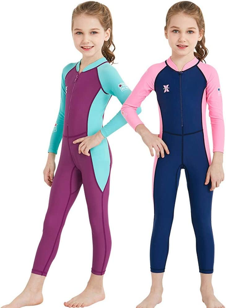 AIWUHE Childrens Diving Boy and Girl Suit Outdoor Long-Sleeve One-Piece Swimsuit Sunscreen Quick-Dry Medium Childrens Swimsuit