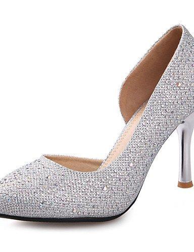 ShangYi Damen / Mädchen - Hochzeitsschuhe - Absätze - High Heels - Hochzeit / Büro / Kleid / Party & Festivität - Schwarz / Silber / Gold , 3in-3 3/4in-silver