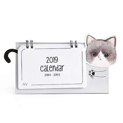Baidercor 2019 - Calendario de escritorio, diseño de gato chino, color gris