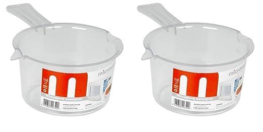 2 x plástico cacerolas mini para microondas (500 ml), color blanco ...