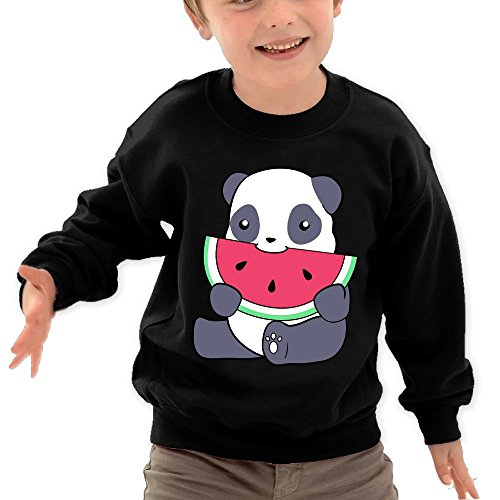 Price comparison product image Puppylol Panda and A Watermelon Kids Classic Crew-Neck Pullover Hoodie Black 5-6 Toddler