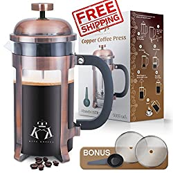 Copper French Press Coffee Maker Stainless Steel Cafetiere by King Koffee | 34oz 1000 mL 8 Cups | Unique Extra Large Plunger | Antique Classic Edition | Milk Frother, Tea Infuser | Rust Free by EnviroCity