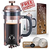 Copper French Press Coffee Maker Stainless Steel Cafetiere by King Koffee | 34oz 1000 mL 8 Cups | Unique Extra Large Plunger | Antique Classic Edition | Milk Frother, Tea Infuser | Rust Free Review