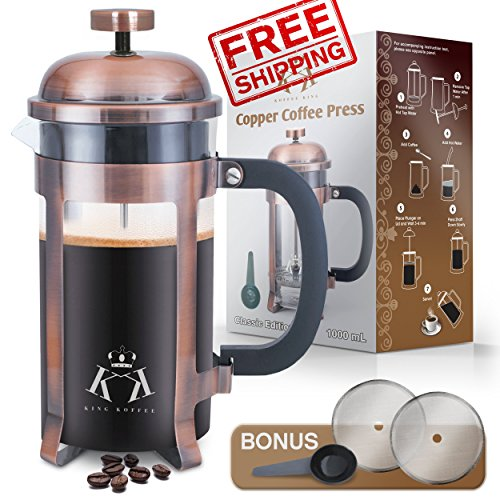 Cheap Copper French Press Coffee Maker Stainless Steel Cafetiere by King Koffee | 34oz 1000 mL 8 Cups | Unique Extra Large Plunger | Antique Classic Edition | Milk Frother, Tea Infuser | Rust Free