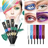 FantasyDay 6Pcs Colors Rainbow Colorful Mascara Waterproof Color Mascara Colorful Eyelash Makeup 3D Fiber Lash Mascara Volume Eye lash Lengthening Gel Perfect Gift for Girls Kids Women