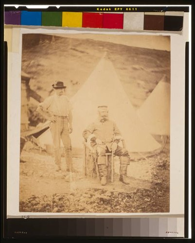 HistoricalFindings Photo: Captain George,4th Light Dragoons & servant,tent,1855,Crimean War,Roger Fenton