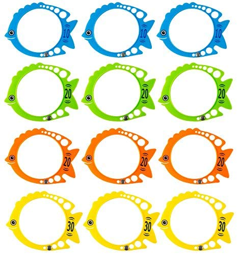 Blue Panda Dive Ring - 12 Pack Fish Shaped Diving Toys, Underwater Swimming Pool Rings for Kids, Multicolored, 7.3 x 5.7 Inches